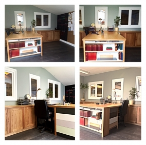 Home office with hardwood Oak doors and spray finish draws