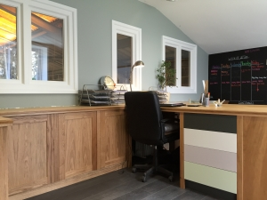 Bespoke ome office solution designed, manufactured and installed by James Riggall Fine Joinery in Exeter, Devon